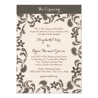 """Pink and Brown Paisley 5.5"""" X 7.5"""" Invitation Card"""