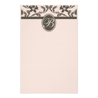 Pink and Brown Paisley Floral Monogram Stationery Paper