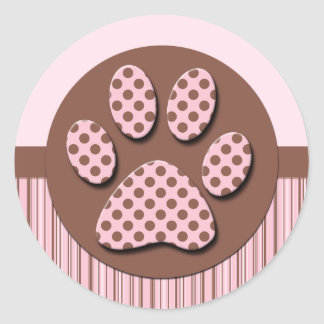 Pink and Brown Paw Print Classic Round Sticker