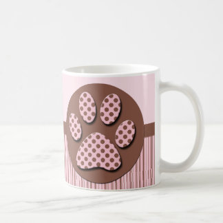 Pink and Brown Paw Print Coffee Mug