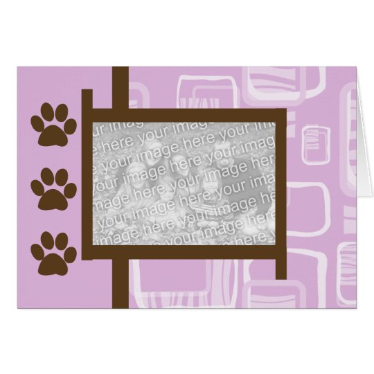 Pink and Brown Paw Print Greeting Cards