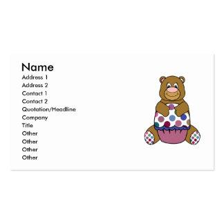 Pink And Brown Polka Dot Bear Business Card