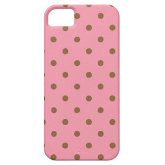 Pink and Brown Polka Dot Pattern iPhone 5 Case