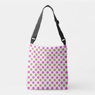 Pink and brown polka dots pattern crossbody bag