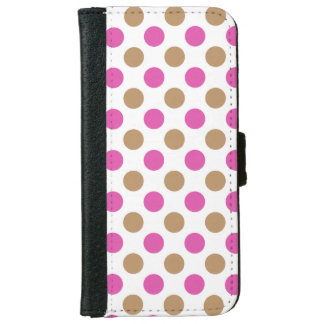 Pink and brown polka dots pattern iPhone 6 wallet case
