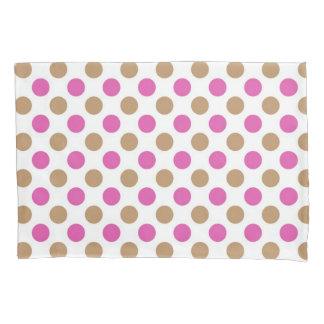 Pink and brown polka dots pattern pillowcase