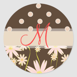 Pink and Brown polka dots stickers
