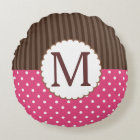 Pink And Brown Polka Dots Stripes Monogram Round Pillow