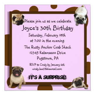 Pink and Brown Pug Invitations