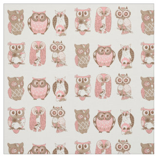 Pink and Brown Retro Owls Fabric