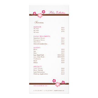 Pink and Brown Sakura Spa Menu Template Personalized Rack Card
