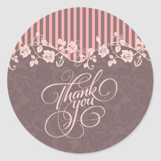 Pink And Brown Stripes & Floral Lace Thank You Round Stickers