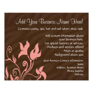 Pink and Brown Swirl Make-Up Artist or Salon Flyer