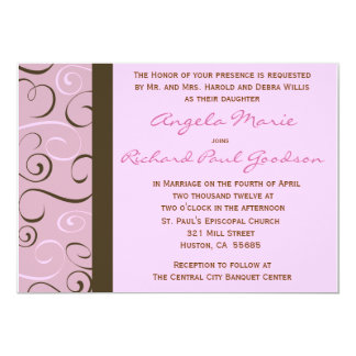Pink and Brown Swirls Wedding  Invitation