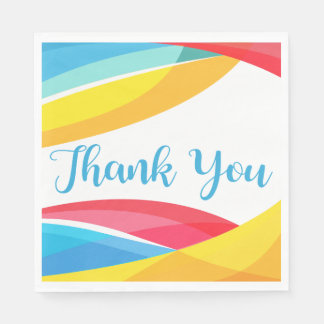 Pink And Brown Thank You Bride & Groom Wedding Paper Napkin