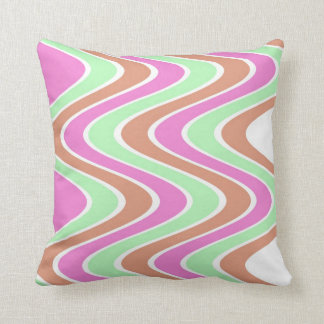 Pink And Brown Waves::Geometric Modern Pattern Throw Pillow