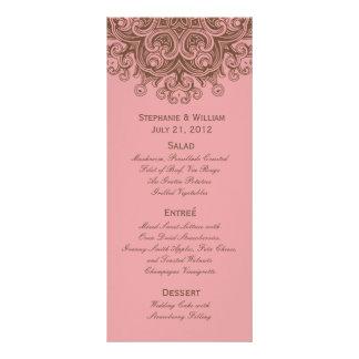 Pink and Brown Wedding Menu Rack Card