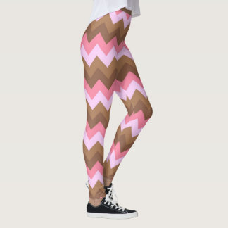 Pink and Brown ZigZag Pattern Leggings