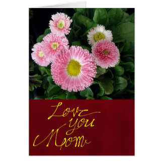 Pink and Burgundy Floral Mother's Day Card
