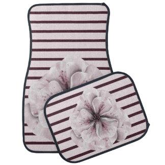 Pink and Burgundy Floral Stripe Floor Mat