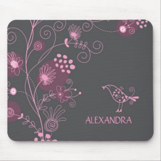 Pink And Burgundy Retro Flowers Brown Background Mouse Pad
