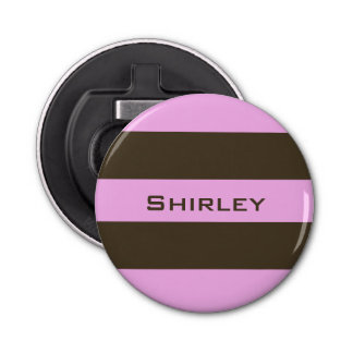 Pink and Chocolate Brown Wide Stripes by STaylor Bottle Opener