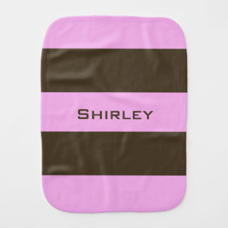 Pink and Chocolate Brown Wide Stripes by STaylor Burp Cloth