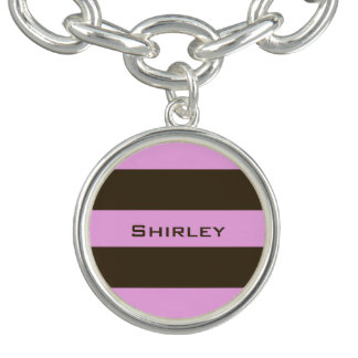 Pink and Chocolate Brown Wide Stripes by STaylor Charm Bracelet