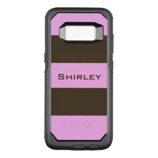 Pink and Chocolate Brown Wide Stripes by STaylor OtterBox Commuter Samsung Galaxy S8 Case