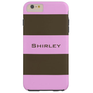 Pink and Chocolate Brown Wide Stripes by STaylor Tough iPhone 6 Plus Case