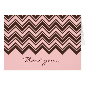 Pink and chocolate brown zigzag pattern note card