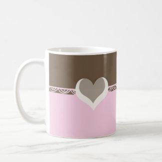 Pink and Chocolate Lace Coffee Mug