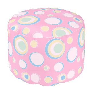 Pink and Circle Polka Dots Pouf