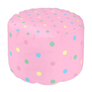 Pink and Colorful Polka Dots Pouf