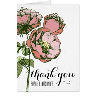Pink and Coral Blooming Roses Thank You Notes