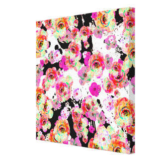 Pink and Coral Spring Floral on Black and White Canvas Print