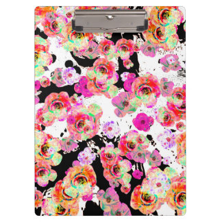 Pink and Coral Spring Floral on Black and White Clipboards