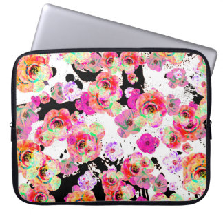 Pink and Coral Spring Floral on Black and White Laptop Computer Sleeves