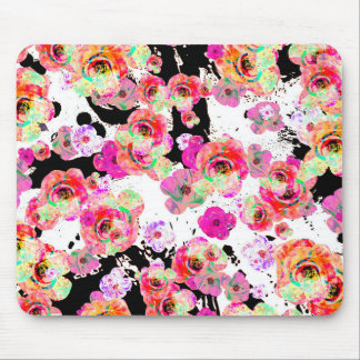 Pink and Coral Spring Floral on Black and White Mouse Pad