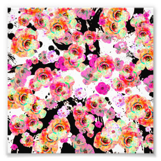 Pink and Coral Spring Floral on Black and White Photo Print
