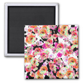 Pink and Coral Spring Floral on Black and White Square Magnet
