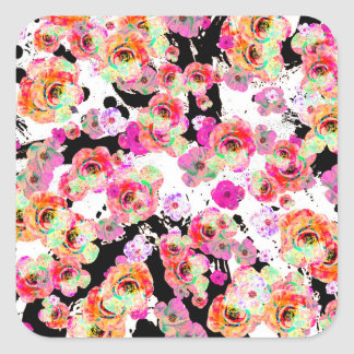 Pink and Coral Spring Floral on Black and White Square Sticker