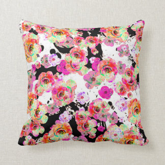 Pink and Coral Spring Floral on Black and White Throw Pillow