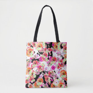 Pink and Coral Spring Floral on Black and White Tote Bag