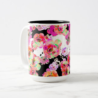 Pink and Coral Spring Floral on Black and White Two-Tone Coffee Mug