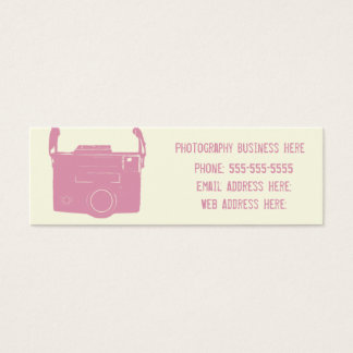 Pink and Cream Retro Film Camera Business Card