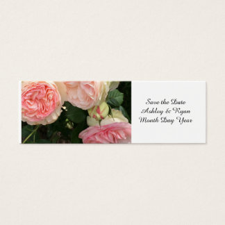 Pink and Cream Roses Save the Date Mini Business Card