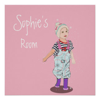 Pink and Cute Girl Illustration Poster