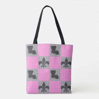 Pink and Dark Grey Louisiana Patterned Tote