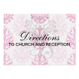 Pink and dark pink boho chic damask business cards
